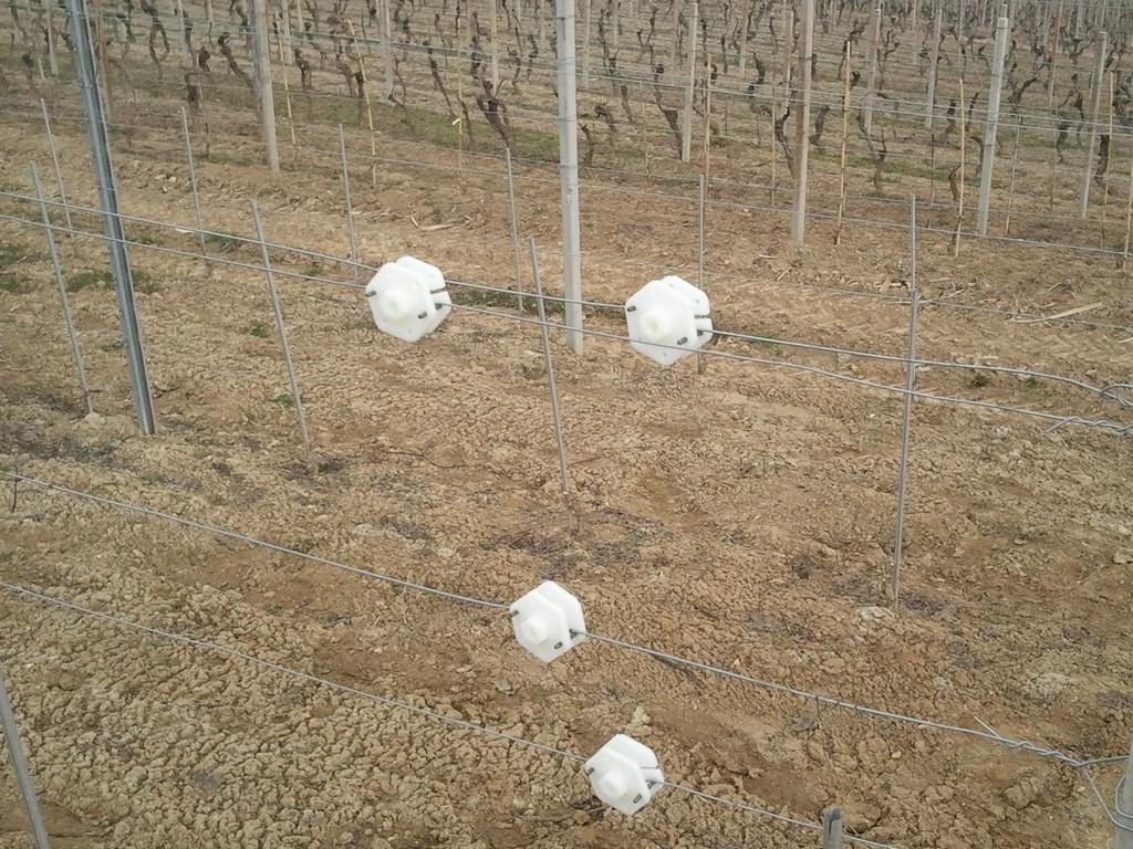 Rocchetti  tendifilo in nylon bianco montati su filo zinco-alluminio
